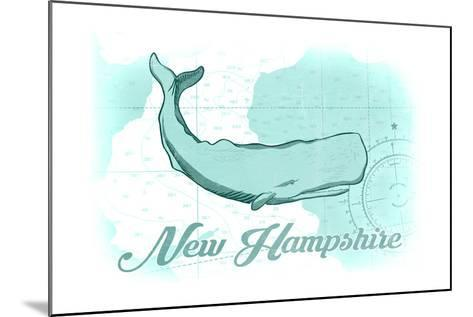 New Hampshire - Whale - Teal - Coastal Icon-Lantern Press-Mounted Art Print