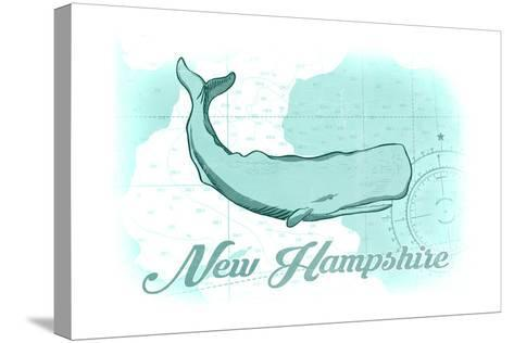 New Hampshire - Whale - Teal - Coastal Icon-Lantern Press-Stretched Canvas Print