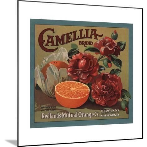 Camelia Brand - Redlands, California - Citrus Crate Label-Lantern Press-Mounted Art Print