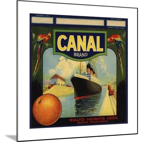 Canal Brand - Rialto, California - Citrus Crate Label-Lantern Press-Mounted Art Print