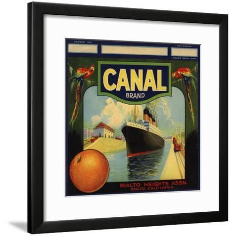 Canal Brand - Rialto, California - Citrus Crate Label-Lantern Press-Framed Art Print