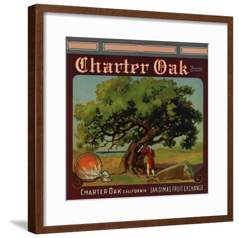 Charter Oak Brand - Charter Oak, California - Citrus Crate Label-Lantern Press-Framed Art Print