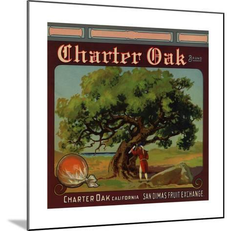 Charter Oak Brand - Charter Oak, California - Citrus Crate Label-Lantern Press-Mounted Art Print
