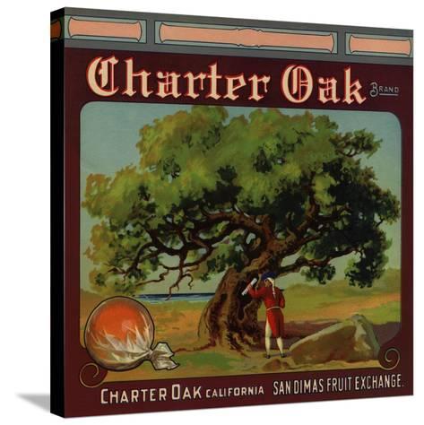 Charter Oak Brand - Charter Oak, California - Citrus Crate Label-Lantern Press-Stretched Canvas Print