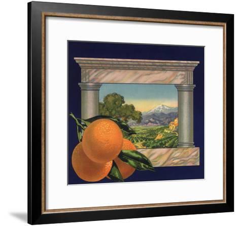 Oranges and Orchard - Citrus Crate Label-Lantern Press-Framed Art Print