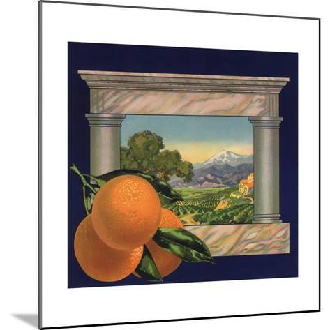 Oranges and Orchard - Citrus Crate Label-Lantern Press-Mounted Art Print
