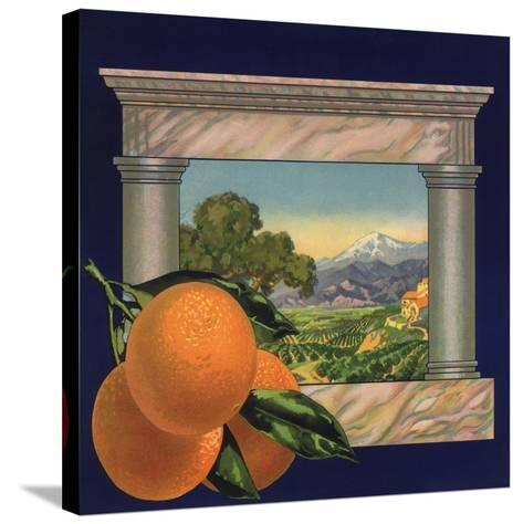 Oranges and Orchard - Citrus Crate Label-Lantern Press-Stretched Canvas Print