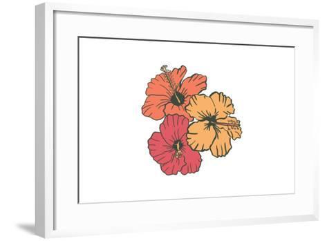 Hibiscus Flowers - Icon-Lantern Press-Framed Art Print