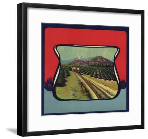 Train Through Orchard - Citrus Crate Label-Lantern Press-Framed Art Print