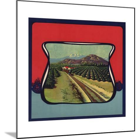 Train Through Orchard - Citrus Crate Label-Lantern Press-Mounted Art Print