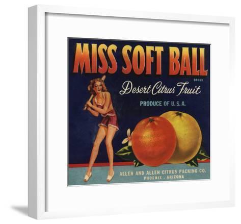 Miss Soft Ball Brand - Phoenix, Arizona - Citrus Crate Label-Lantern Press-Framed Art Print