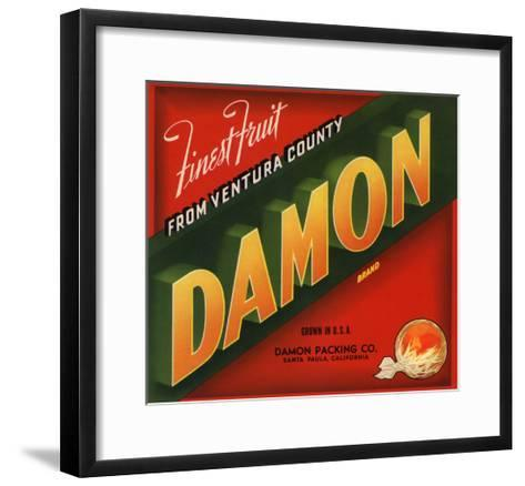 Damon Brand - Santa Paula, California - Citrus Crate Label-Lantern Press-Framed Art Print
