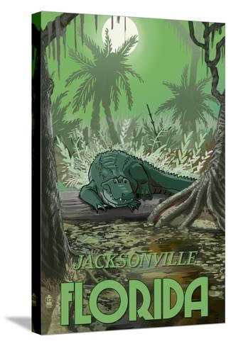 Jacksonville, Florida - Alligator in Swamp-Lantern Press-Stretched Canvas Print