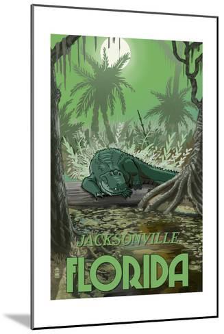 Jacksonville, Florida - Alligator in Swamp-Lantern Press-Mounted Art Print