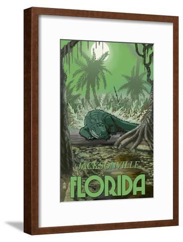 Jacksonville, Florida - Alligator in Swamp-Lantern Press-Framed Art Print