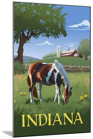 Indiana - Horse in Field-Lantern Press-Mounted Art Print
