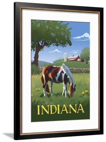 Indiana - Horse in Field-Lantern Press-Framed Art Print