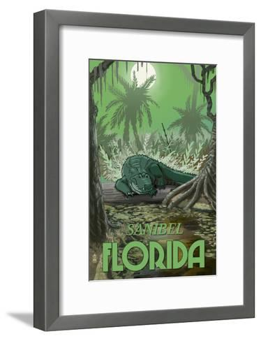 Sanibel, Florida - Alligator in Swamp-Lantern Press-Framed Art Print