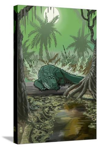 Alligator in Swamp-Lantern Press-Stretched Canvas Print