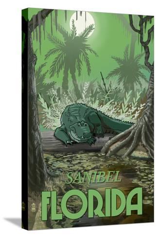 Sanibel, Florida - Alligator in Swamp-Lantern Press-Stretched Canvas Print
