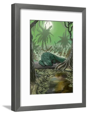 Alligator in Swamp-Lantern Press-Framed Art Print
