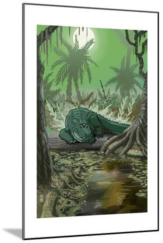 Alligator in Swamp-Lantern Press-Mounted Art Print