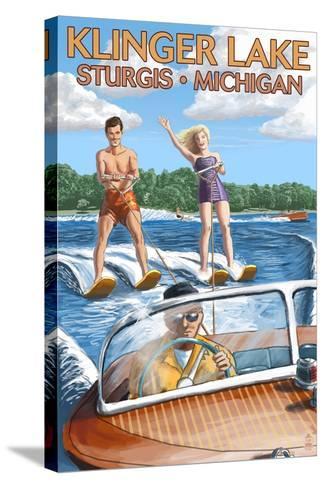 Klinger Lake - Sturgis, Michigan - Water Skiing and Wooden Boat-Lantern Press-Stretched Canvas Print