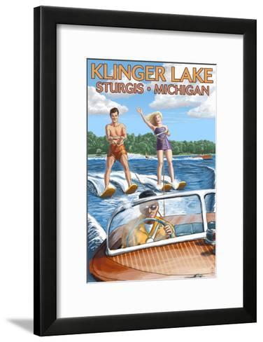 Klinger Lake - Sturgis, Michigan - Water Skiing and Wooden Boat-Lantern Press-Framed Art Print