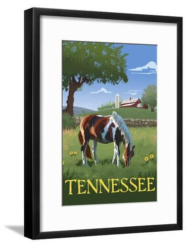Tennsesse - Horse in Field-Lantern Press-Framed Art Print