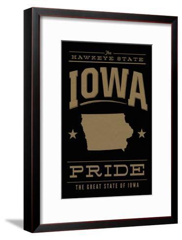 Iowa State Pride - Gold on Black-Lantern Press-Framed Art Print