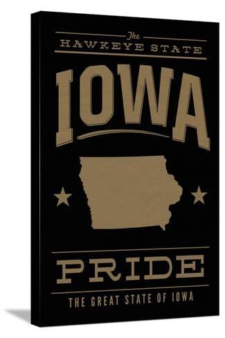 Iowa State Pride - Gold on Black-Lantern Press-Stretched Canvas Print