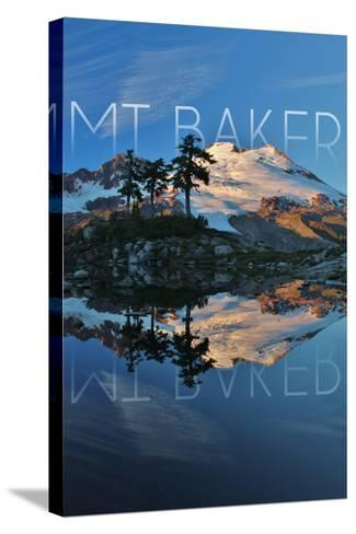 Mount Baker, Washington - Peak and Water-Lantern Press-Stretched Canvas Print