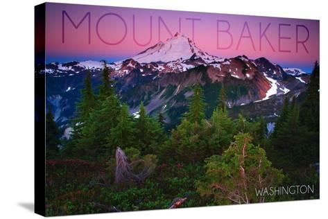 Mount Baker, Washington - Pink and Purple Sunset-Lantern Press-Stretched Canvas Print