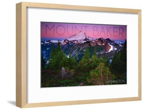 Mount Baker, Washington - Pink and Purple Sunset-Lantern Press-Framed Art Print