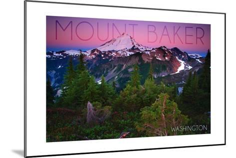 Mount Baker, Washington - Pink and Purple Sunset-Lantern Press-Mounted Art Print