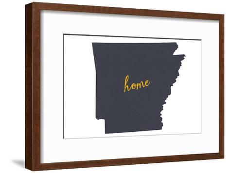 Arkansas - Home State- Gray on White-Lantern Press-Framed Art Print