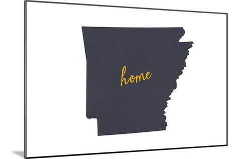Arkansas - Home State- Gray on White-Lantern Press-Mounted Art Print