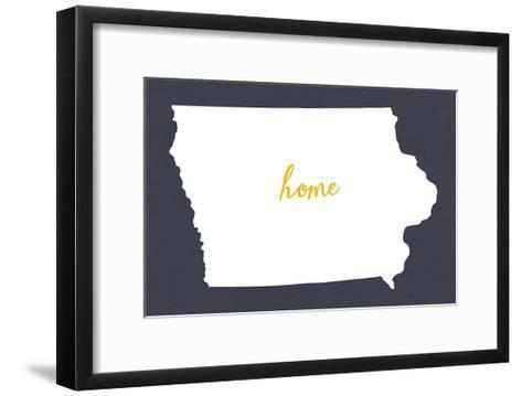 Iowa - Home State- White on Gray-Lantern Press-Framed Art Print