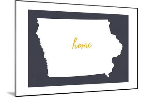 Iowa - Home State- White on Gray-Lantern Press-Mounted Art Print