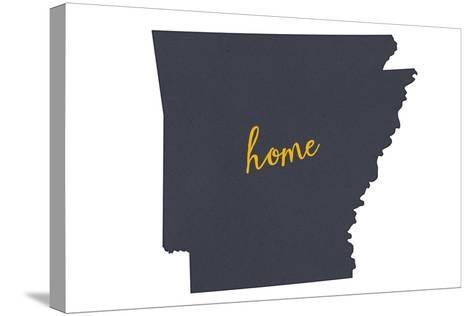 Arkansas - Home State- Gray on White-Lantern Press-Stretched Canvas Print