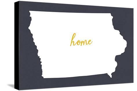 Iowa - Home State- White on Gray-Lantern Press-Stretched Canvas Print