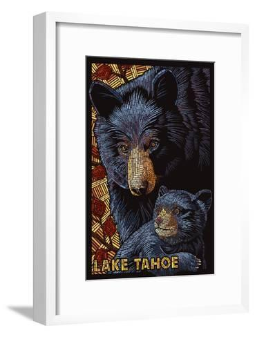 Lake Tahoe - Black Bears - Mosaic-Lantern Press-Framed Art Print