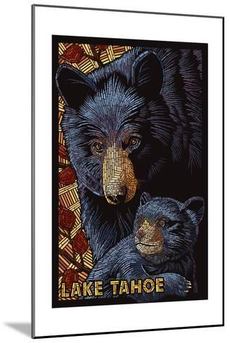 Lake Tahoe - Black Bears - Mosaic-Lantern Press-Mounted Art Print