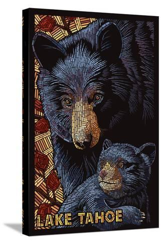 Lake Tahoe - Black Bears - Mosaic-Lantern Press-Stretched Canvas Print