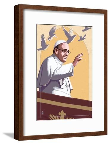 Pope and Doves - Lithography Style-Lantern Press-Framed Art Print