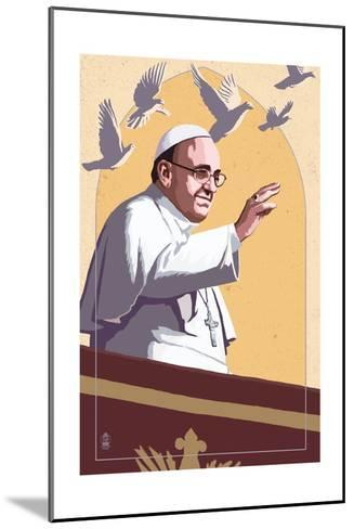 Pope and Doves - Lithography Style-Lantern Press-Mounted Art Print