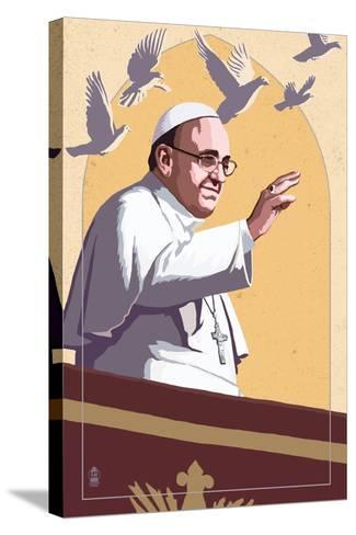 Pope and Doves - Lithography Style-Lantern Press-Stretched Canvas Print