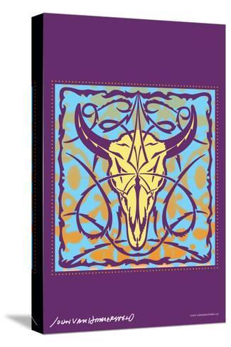 Cow Skull - John Van Hamersveld Poster Artwork-Lantern Press-Stretched Canvas Print