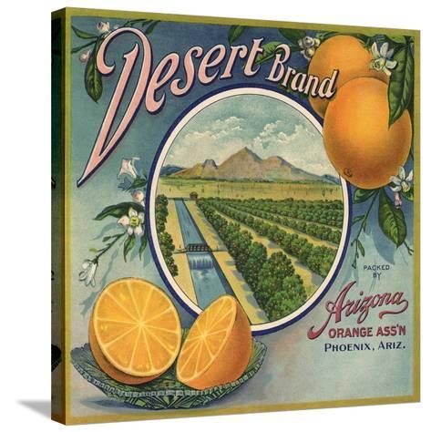 Desert Brand - Phoenix, Arizona - Citrus Crate Label-Lantern Press-Stretched Canvas Print