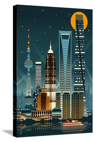 Shanghai, China - Retro Skyline (no text)-Lantern Press-Stretched Canvas Print